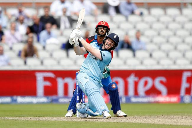 Eoin Morgan hits one of his world-record 17 sixes against Afghanistan