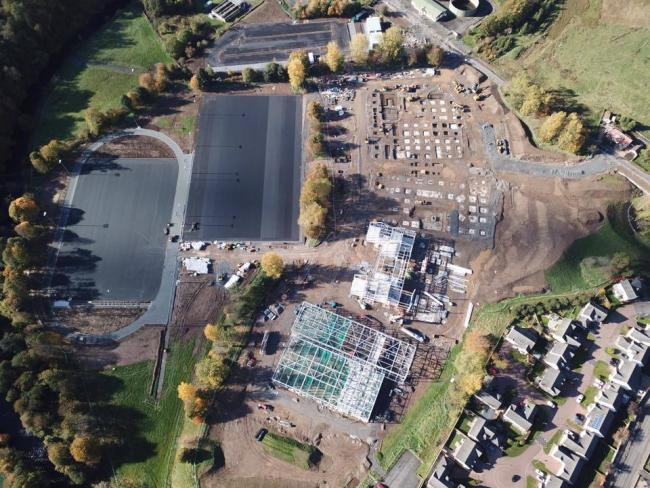An aerial view of the Barony Campus in progress.