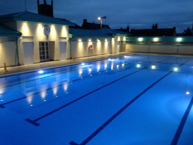 New Cumnock pool at night.