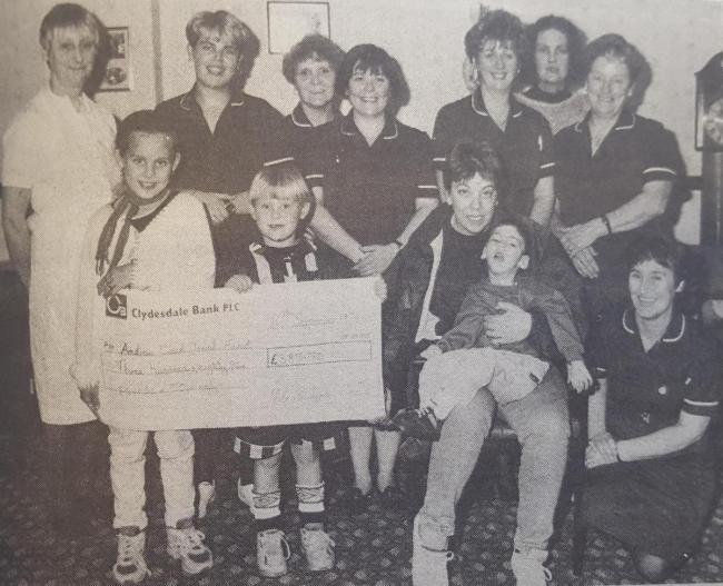 A clipping we printed on October 2 showing staff at Nightingale House in Auchinleck 25 years ago, who raised a total of £385.50 for Andrew. Mum, Ann, saw it in the paper, remembering it had been printed at the time.