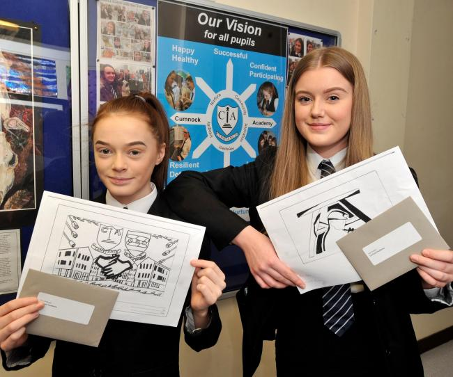 Cumnock academy, Ellie Browne and Alex Peden with winning designs for bridge.