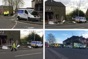 Four rushed to hospital after works van crashes into bus stop in Clydebank