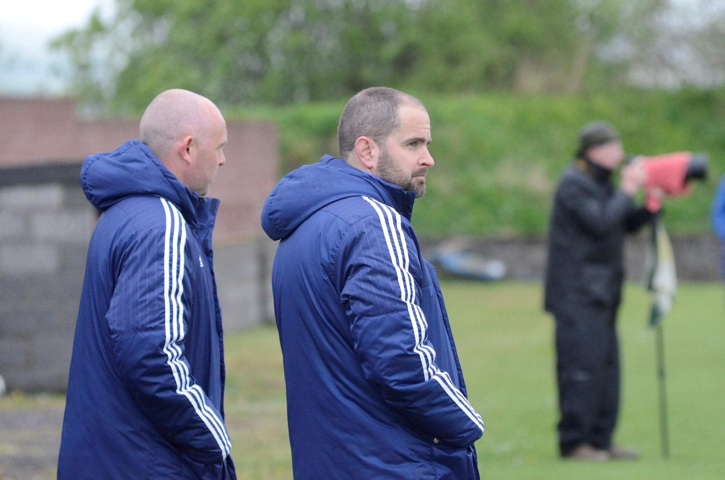 Glenafton Athletic manager Craig McEwan (right) with assistant Craig Potter