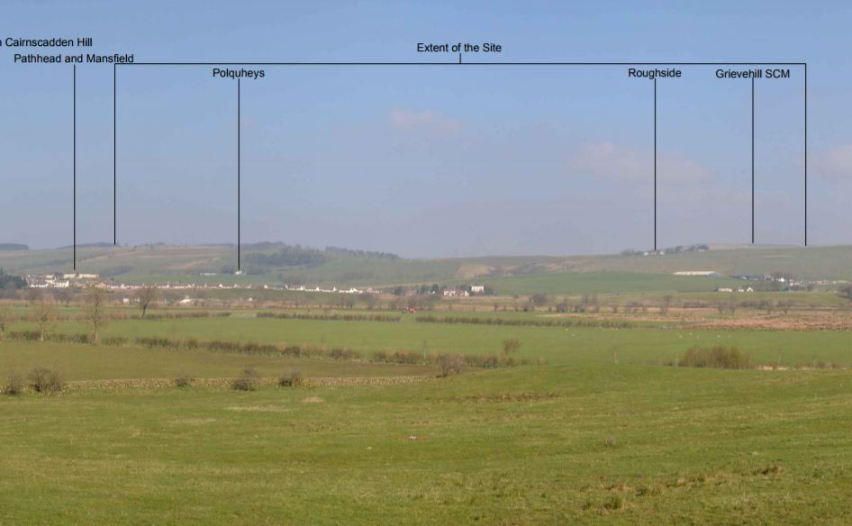 PROPOSED LOCATION: As viewed from the A76 at New Cumnock, south of the site