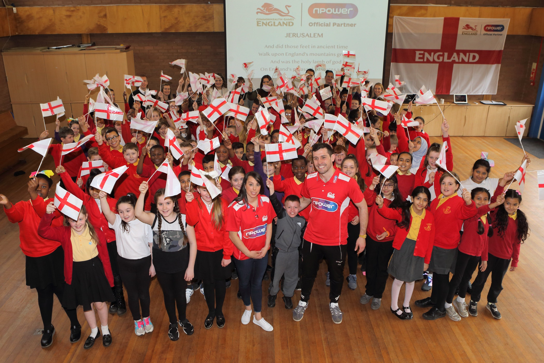 Beth Tweddle (front, middle) visited Lark Hill Primary School in Salford to inspire pupils ahead of the Commonwealth Games (Martin Avery)