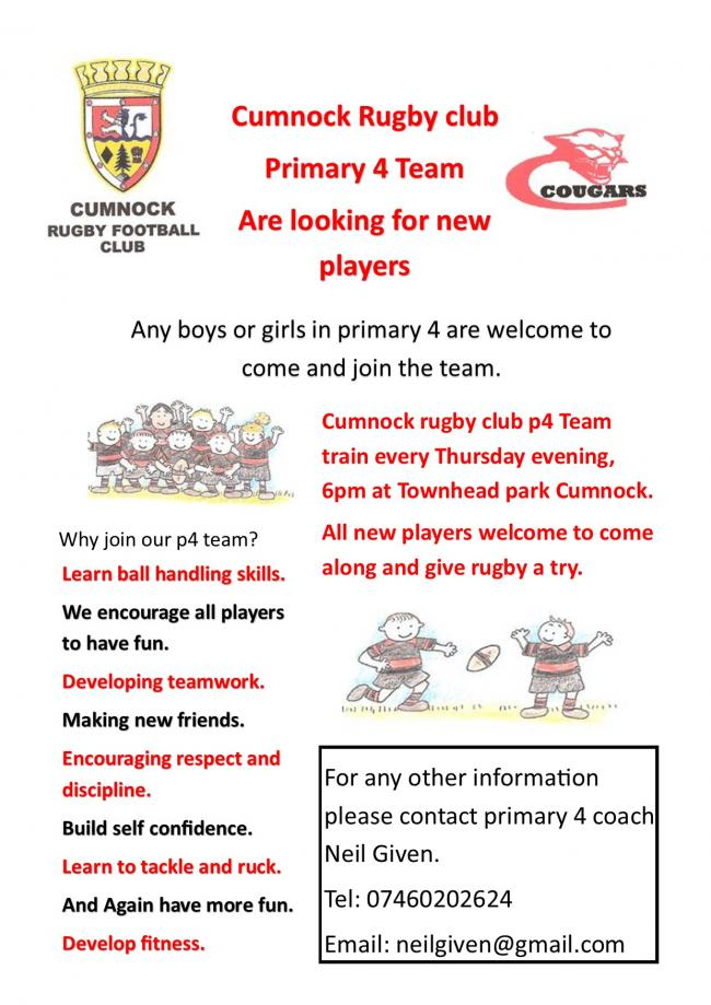 P4s WANTED: Cumnock Rugby are recruiting