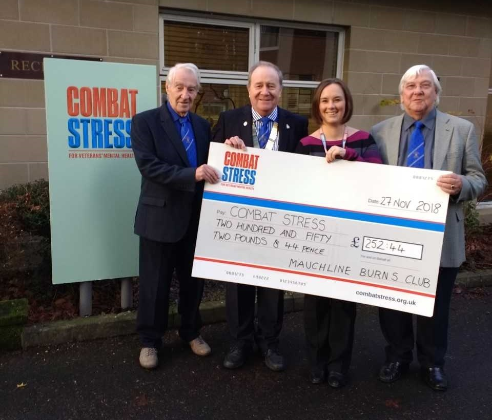 CHEQUE PRESENTATION: To Combat Stress charity