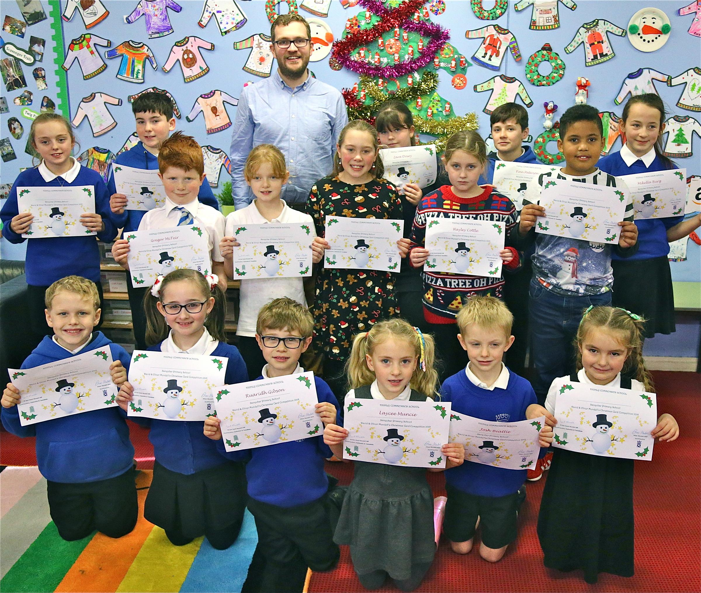 GRAND DESIGNS: Some of the pupils at Sanquhar Primary School who received Highly Commended School certificates this week from Dumfriesshire MSP Oliver Mundell, pictured back.