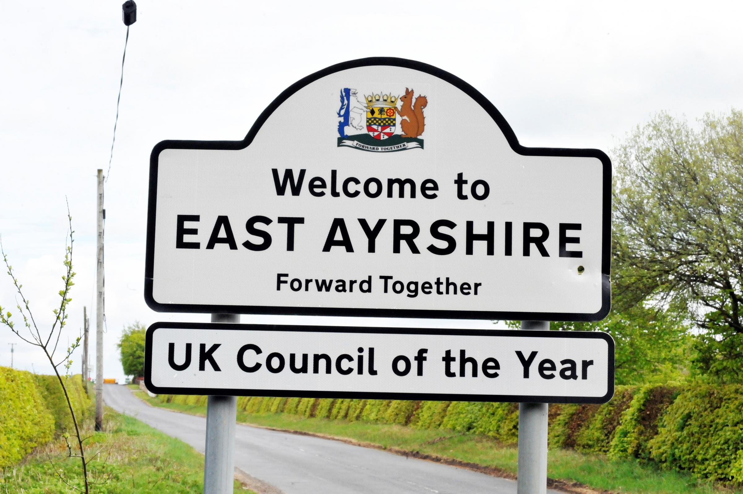 Crosshands, East Ayrshire UK Council of the year sign..