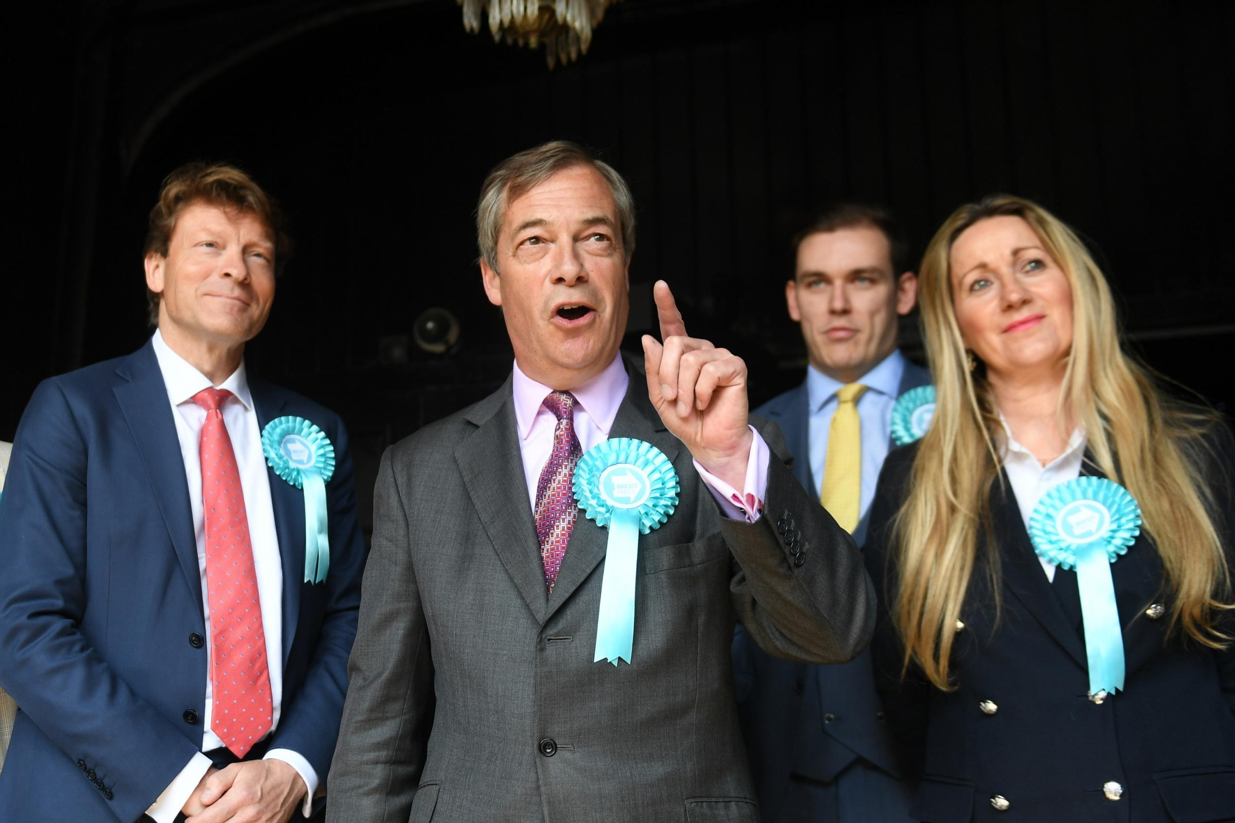 Brexit Party leader Nigel Farage (centre) with Brexit Party chairman Richard Tice (left) and candidates Michael Heaver and June Mummery at the Sugar Hut in Brentwood